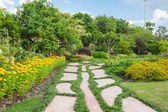 Colourful Flowerbeds and Winding Grass Pathway in an Attractive — Stock Photo