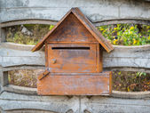 Wood mailbox on home page. — Stock Photo