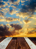 Wood texture perspective and sunset — Stock Photo