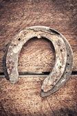 Old horseshoe on wood for vintage style — Foto Stock