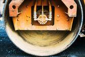Compact steamroller flatten out the asphalt tar — Stock Photo