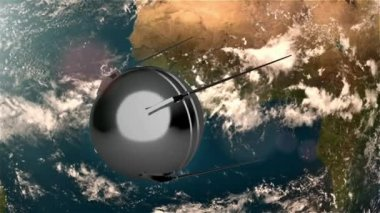 Earth sputnik alpha — Stockvideo
