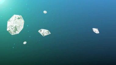 Flying rotating diamonds — Stock Video