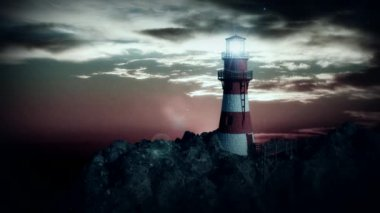 Lighthouse on the cliff at night — Stock Video