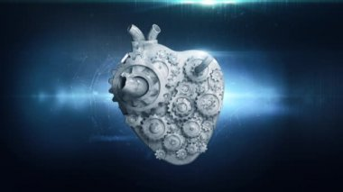 Animation of heart gears working together — Stock Video