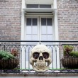 Stock Photo: Halloween decoration on the house, skull