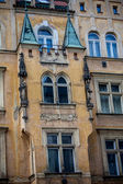 Vintage house in prague with turrets — Stock Photo