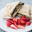 Vegetarian sandwich with strawberries — Stock Photo
