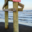 Do not enter sign on beach — Stock Photo #38238517