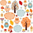 Cute colorful seamless forest vector pattern with animals hare and owl — Stock Vector