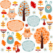 Cute colorful seamless forest vector pattern with animals hare and owl — Stock Vector #33493471