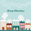Cute christmas card with winter houses, falling snowflakes, vector illustration — Stock Vector
