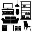 Furniture icons, black vector silhouettes — Stock Vector