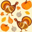 Autumn thanksgiving seamless background with turkey, fruit, pumpkin and leaves, vector illustration — Stock Vector