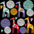 Cute colorful giraffe seamless pattern with flowers, vector illustration background — Stock Vector #33800017