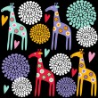 Cute colorful giraffe seamless pattern with flowers, vector illustration background — Stock Vector