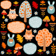 Cute colorful seamless forest vector pattern with animals hare and owl, black background — Stock Vector