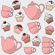 Cute seamless pattern with various cupcakes, muffins, tea, coffee pot, cups, vector illustration background — Stock Vector