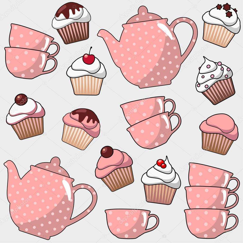 Cute seamless pattern with various cupcakes, muffins, tea, coffee ...