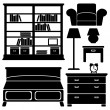 Furniture icons, bedroom set, black vector silhouettes — Stock Vector