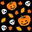 Halloween seamless pattern with pumpkin, leaves and scull, vector illustration — Stok Vektör