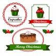 Christmas vintage food tags and labels with cupcakes, holly and cakes, vector ilustrations — Stock Vector