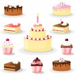 Cute sweet cake and cupcake set, icons, vector illustrations — 图库矢量图片