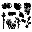 Black isolated vegetables silhouettes icons on white background, vector vegetarian set — Stok Vektör