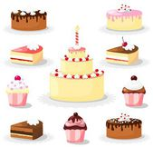 Cute sweet cake and cupcake set, icons, vector illustrations — Stock Vector