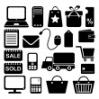 Internet shopping business icons set, black isolated silhouettes — Stok Vektör