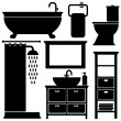 Bathroom toilet black icons set, silhouettes on white background, vector illustration — Stockvektor