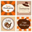 Set of four cute Thanksgiving cards invitations. Vector illustrations. Autumn, fall ornamental frames. — Stock Vector