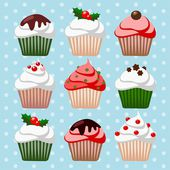 Cute christmas cupcake and muffin set, icons, vector illustrations — Stock Vector