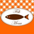Vintage fish menu card for restaurant, vector illustration — Vektorgrafik