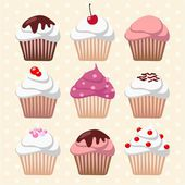 Cute retro set of various cupcakes and muffins, vector illustration background — Stock Vector