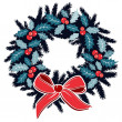 Christmas wreath with holly berries on evergreen and ribbon, decoration, isolated vector illustration — Imagen vectorial