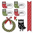 Cute set of gift tags, labels, stickers with owl, vector elements — Stock Vector #35494959