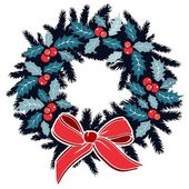 Christmas wreath with holly berries on evergreen and ribbon, decoration, isolated vector illustration — Wektor stockowy