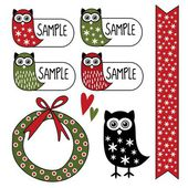 Cute set of gift tags, labels, stickers with owl, vector elements — Stock Vector