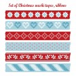 Set of vintage christmas washi tapes, ribbons, vector elements, cute design patterns — Stock Vector