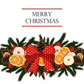Traditional christmas garland border decorated with dried fruit - orange, apple slices, pine cones, berries on evergreen and ribbon, isolated vector illustration — 图库矢量图片