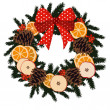 Traditional christmas wreath with dried fruit - orange, apple slices, pine cones, berries on evergreen and ribbon, decoration, isolated vector illustration — Stock vektor