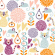 Cute colorful cartoon seamless floral vector pattern with animals cat and mouse — ベクター素材ストック