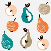 Cute seamless background with apples and pears, vector illustration — Stock Vector