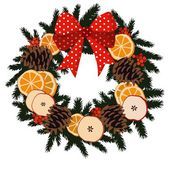 Traditional christmas wreath with dried fruit - orange, apple slices, pine cones, berries on evergreen and ribbon, decoration, isolated vector illustration — Stock Vector