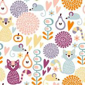 Cute colorful cartoon seamless floral vector pattern with animals cat and mouse — Vector de stock