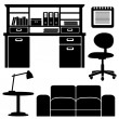 Furniture icons, living room, office vector set, black isolated silhouettes — Imagen vectorial