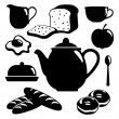 Breakfast icons set, black isolated vector silhouettes of food, drink and pottery — Stock Vector
