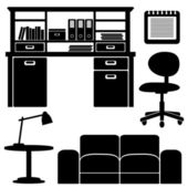 Furniture icons, living room, office vector set, black isolated silhouettes — Stock Vector