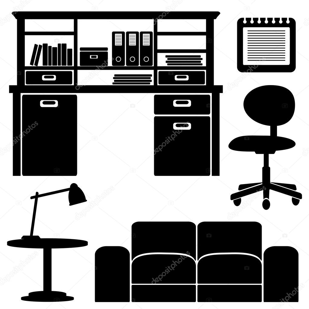 Furniture icons, living room, office vector set, black ...